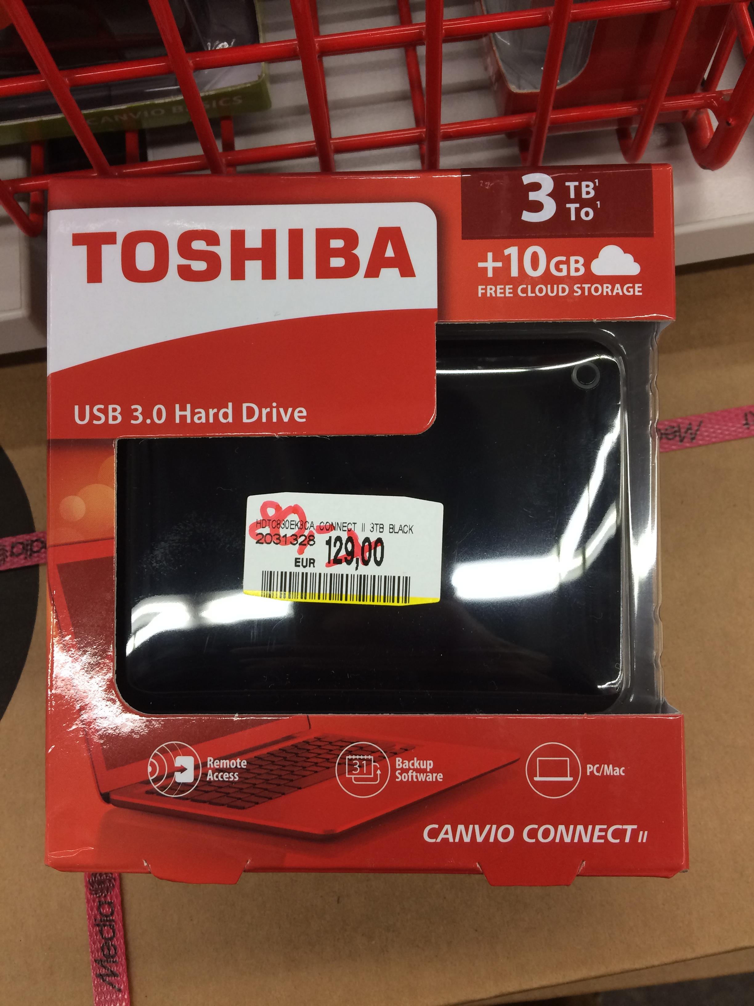 "[Lokal Media Markt Citti Park Kiel] Toshiba Canvio Connect II, 3TB, USB 3.0 in 2,5"" für 80€"