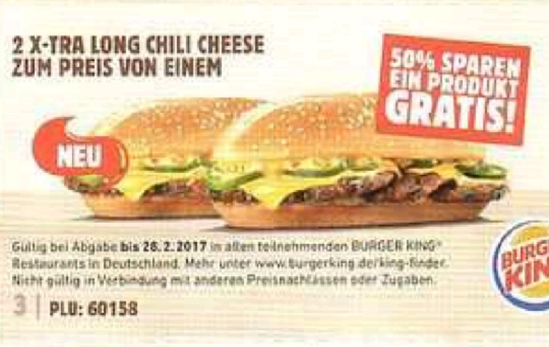 Burger King 2 X-Tra Long Chili Chese zum preis von 1