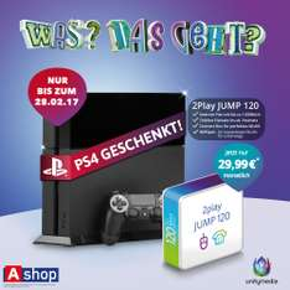 PS4 geschenkt bei unitymedia 2play Jump 120 bei Ashop (offline)