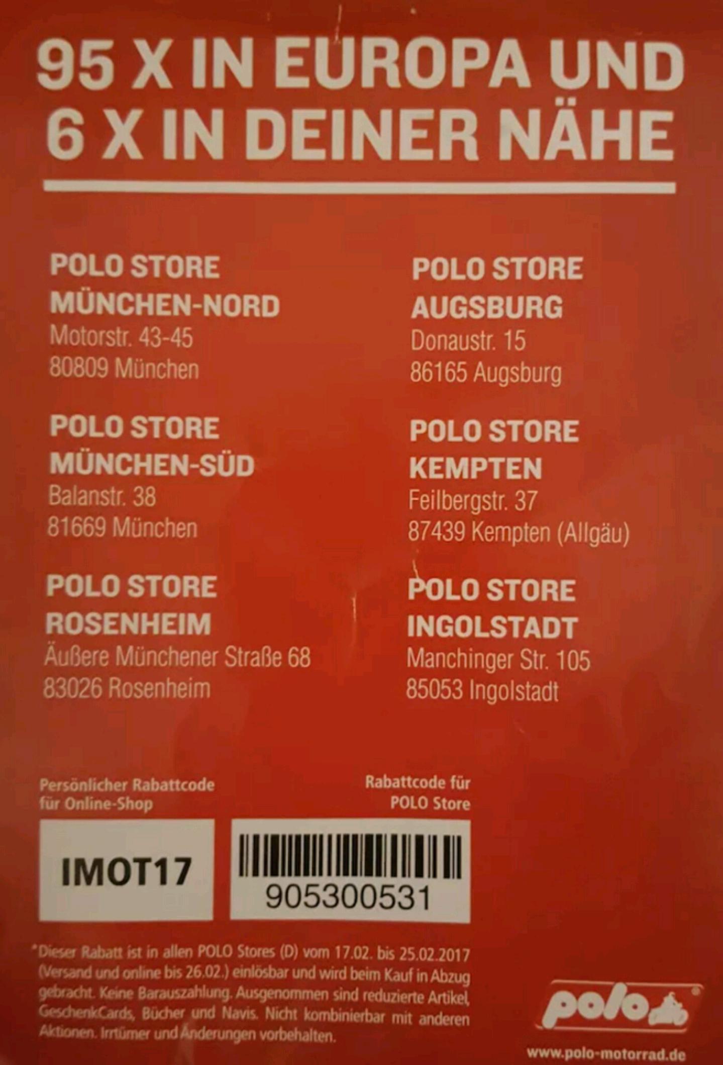 Polo Motorrad 20% auf fast alles  ohne MBW (keine Marken ausgeschlossen) Online und Offline