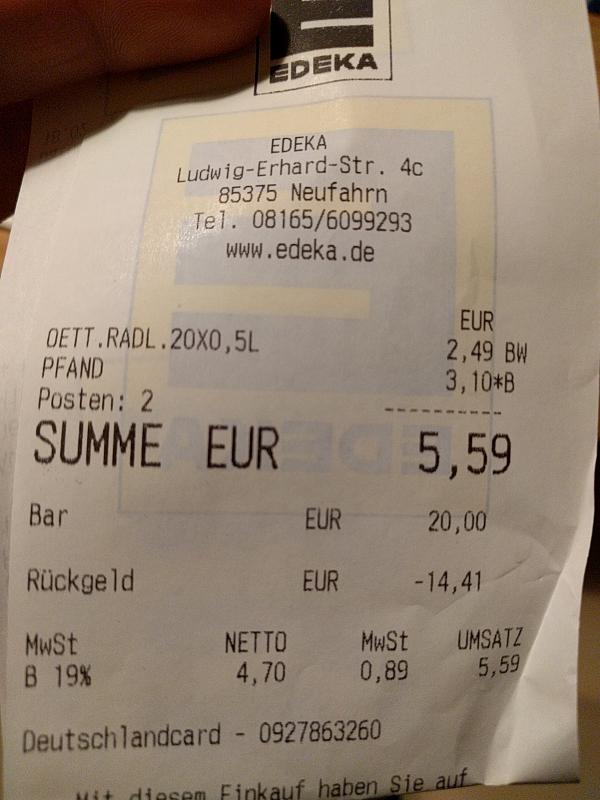 20 x Oettinger Radler für 2,49€ + 3,10€ Pfand (Lokal Neufahrn)