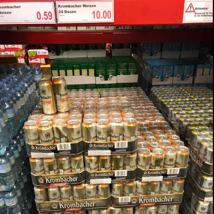 12 Liter Krombacher Weizen für 10,00€ Grenzgänger Ter Huurne Hollandmarkt Pfandfrei