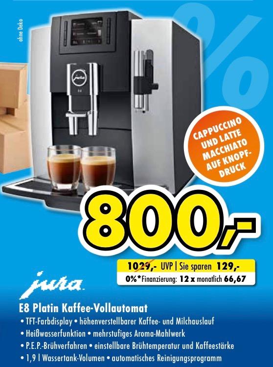 LOKAL: Jura E8 Platin Kaffeevollautomat für 800€ | Euronics XXL Bücker