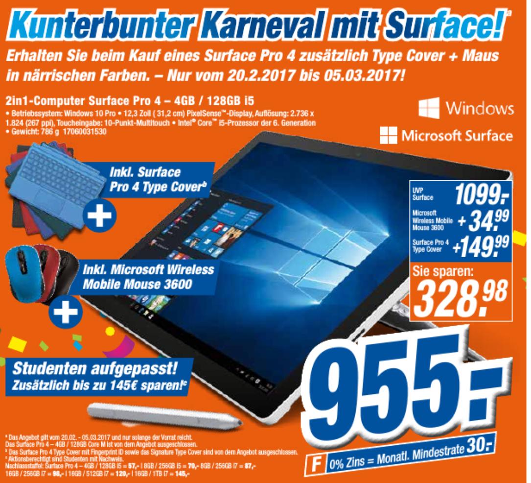 Expert-Klein Surface Pro 4 i5, 4GB Ram, 128GB SSD mit Typecover und Maus (Studentenrabatt möglich)