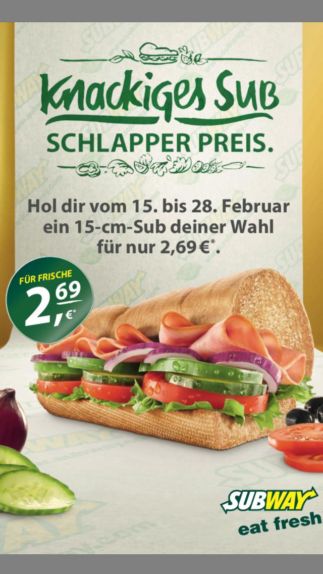Subway - Jedes 15cm Sub 2,69€