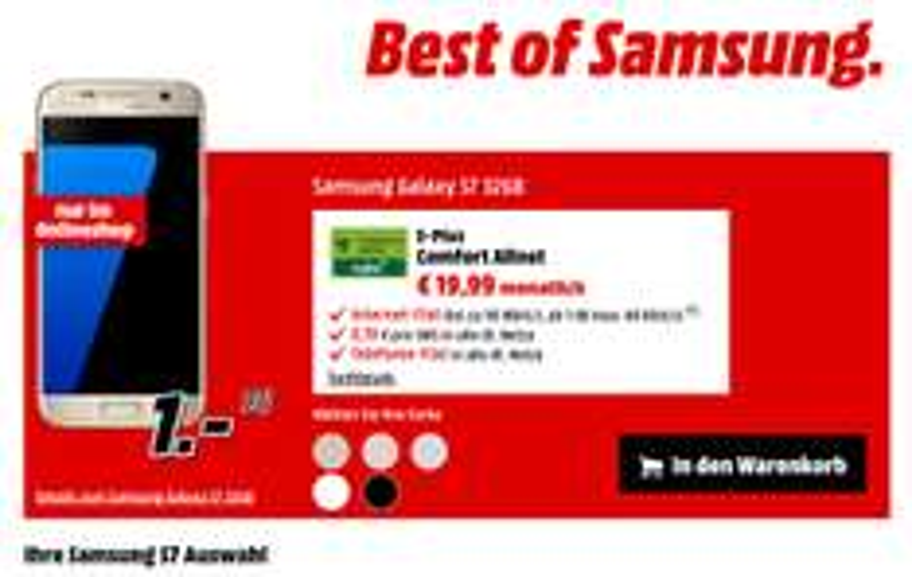 UPDATE (Media Markt Online) Galaxy S7 alle Farben mit MD 1GB Allnet Flat 19,99€ mtl