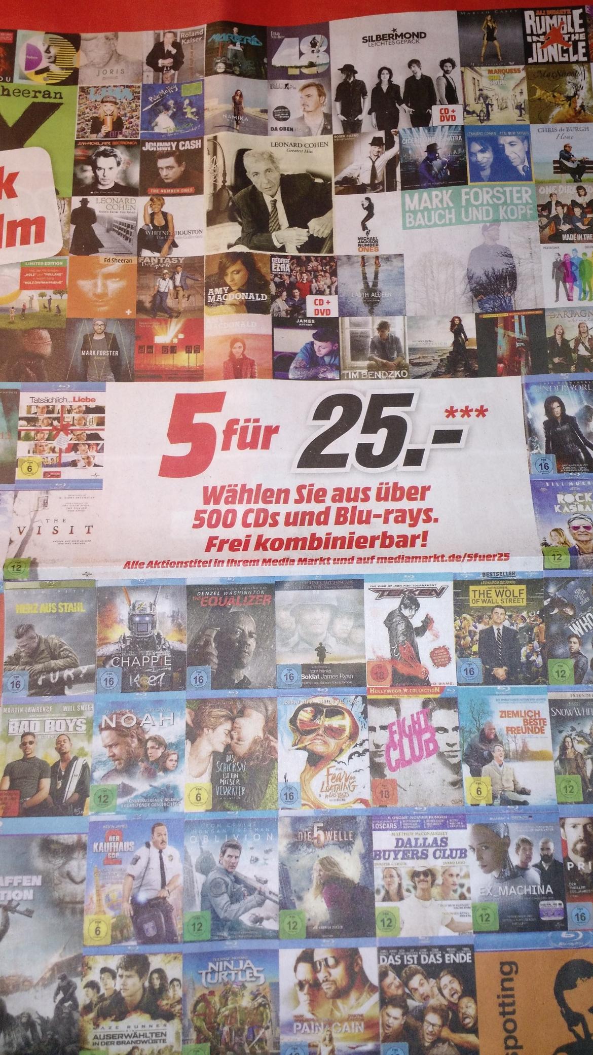 [MediaMarkt bundesweit] 5 für 25€ Aktion (CDs, Blu-Rays)