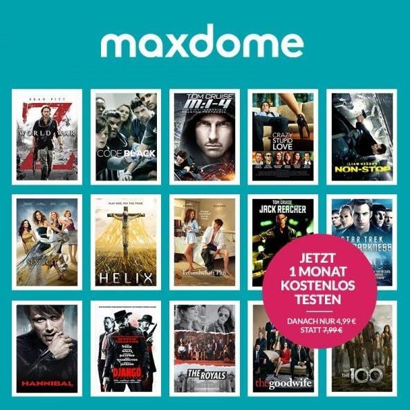 maxdome: 40% Gutschein + ein Monat gratis! (nur für Studenten)