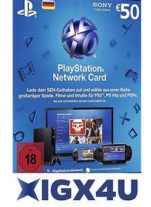 PSN Playstation Network Card Key 50€ Store Guthaben für 39€ [ebay Plus]