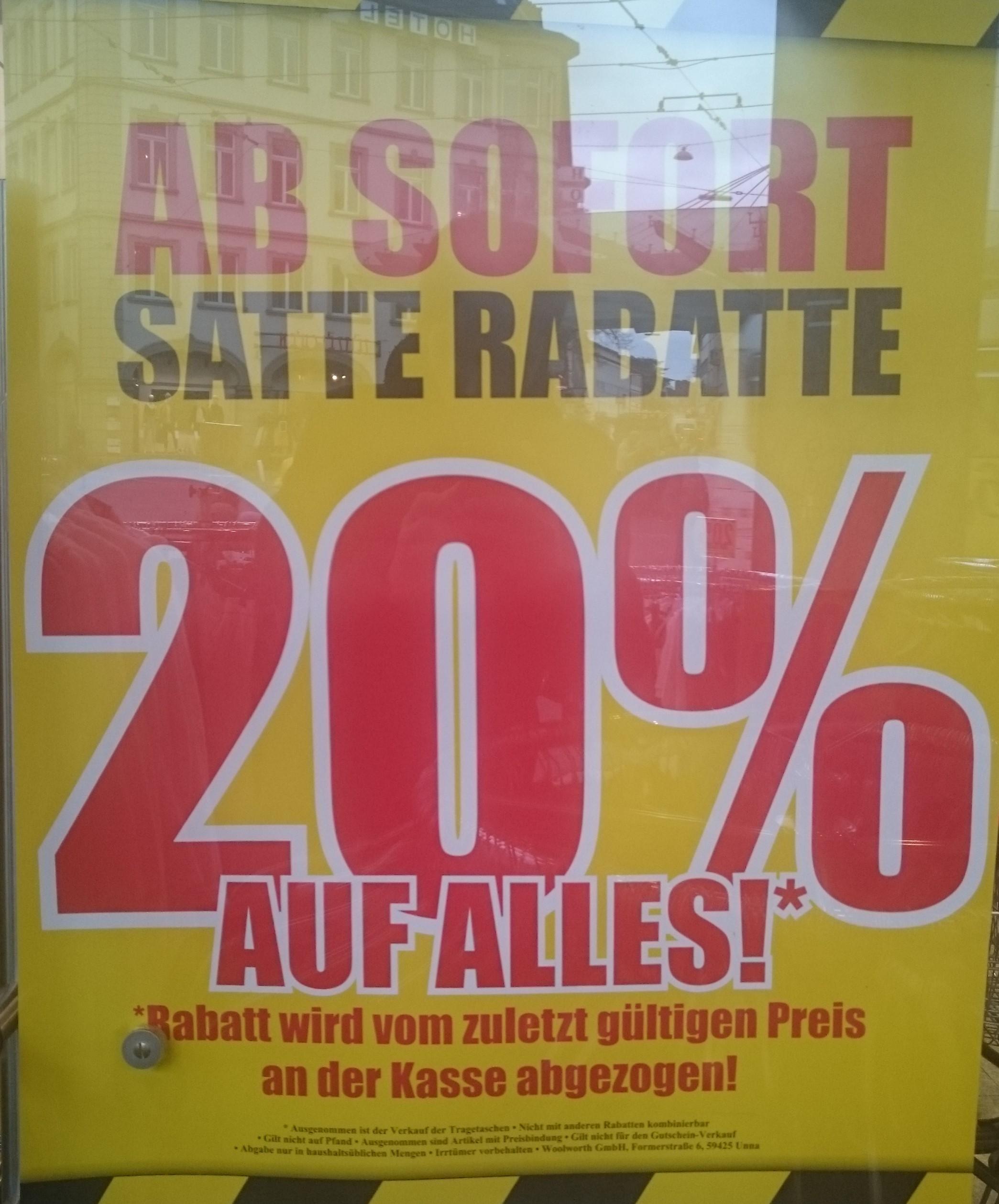 [Lokal Würzburg] 20% auf alles bei Woolworth