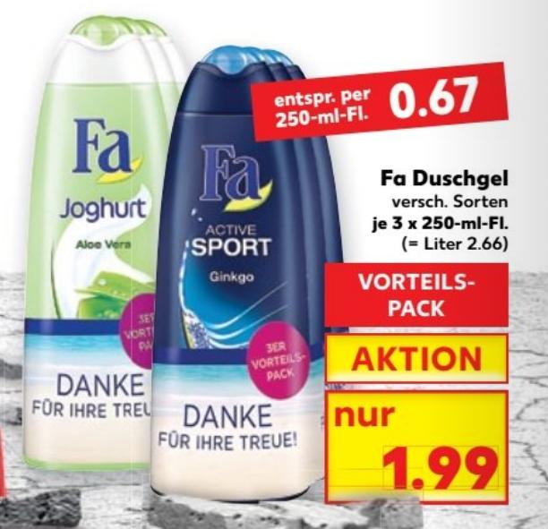 Kaufland - 5x 3er Pack Fa Duschgel plus 1x Fa Seife für 5,83 ( Beautywochen )