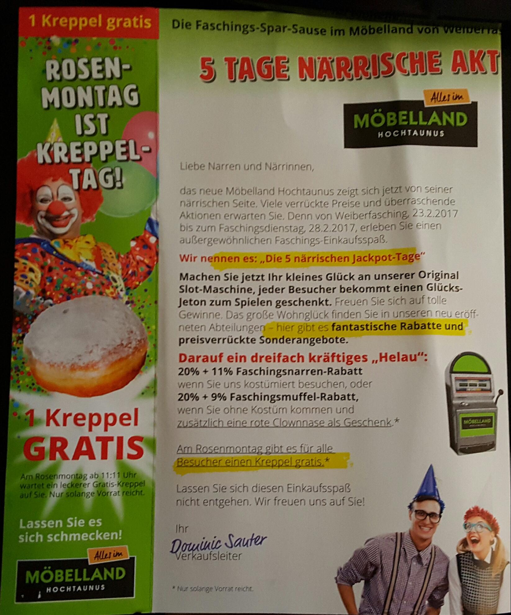 [Lokal Bad Homburg] 1 Kreppel gratis bei Möbelland Hochtaunus am Rosenmontag (27.02.17)