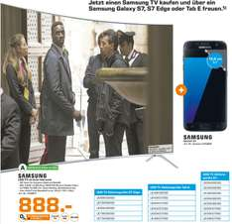 [Lokal Saturn Augsburg/Friedberg] SAMSUNG UE49KS7590, 123 cm (49 Zoll), UHD 4K, SMART TV, LED TV, 2200 PQI, DVB-T2 HD, DVB-C, DVB-S, DVB-S2 + Samsung Galaxy S7 für nur 888,-€