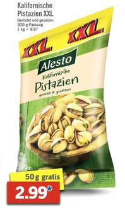 [Lidl ab 2.3.] 300g Pistazien geröstet & gesalzen für 2,99€ (oder 250g für 2,49 im Onlineshop)