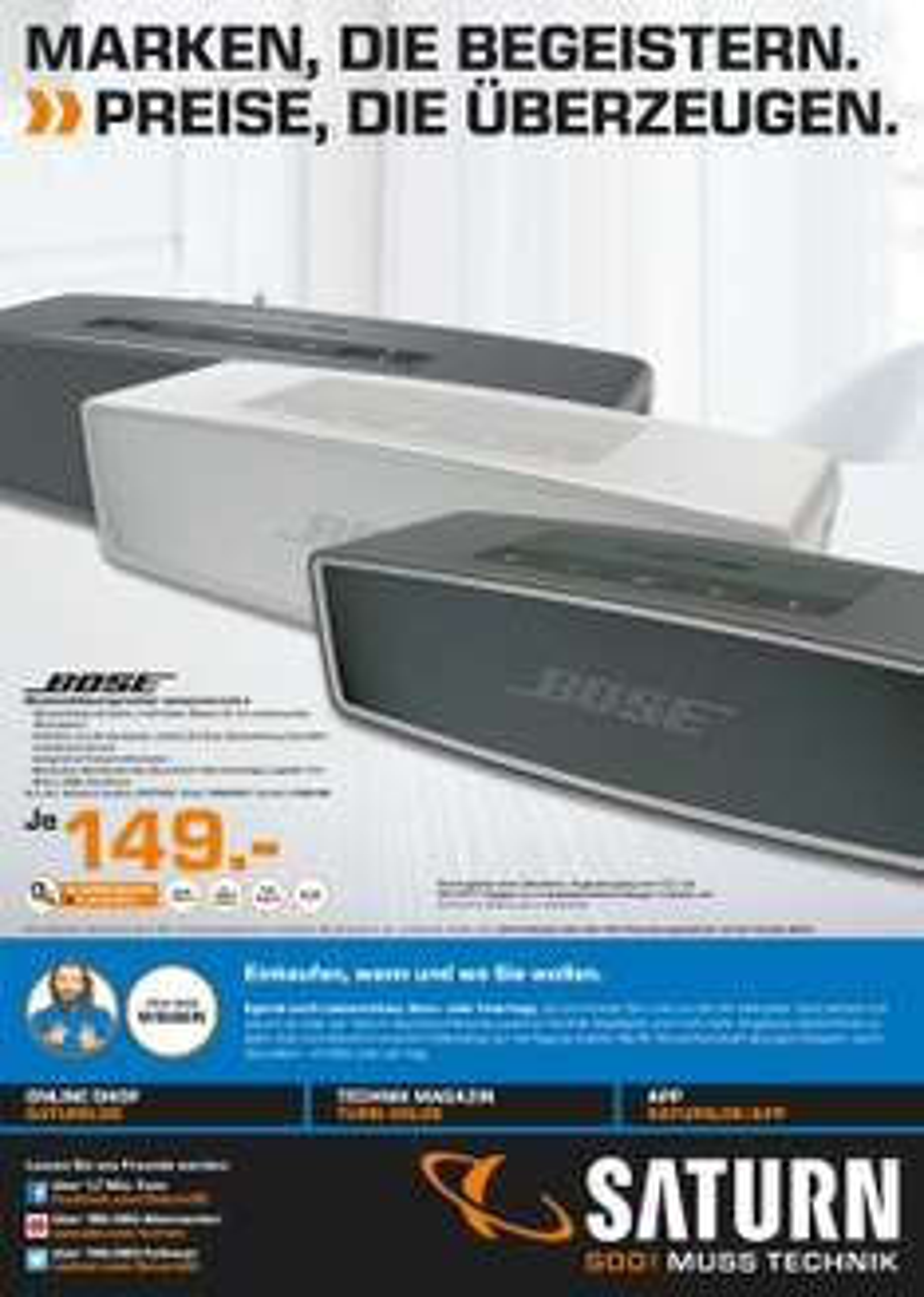 [Saturn KL]  Bose SoundLink Mini II für 149€