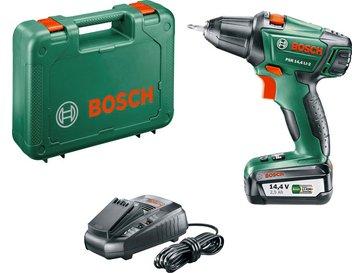 Bosch DIY Akku-Bohrschrauber PSR 14,4 LI-2, Akku, Ladegerät, Doppelschrauberbit, Koffer (14,4 V, 2,5 Ah, 30 mm Bohr-Ø in Holz) bei [Obi oder Amazon]