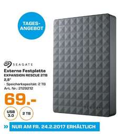 [Lokal Saturn Mannheim-Tagesangebot NUR morgen am 24.02 gültig) Seagate Expansion Portable Rescue Edition, 2TB, externe tragbare Festplatte; USB 3.0 für 69,-€