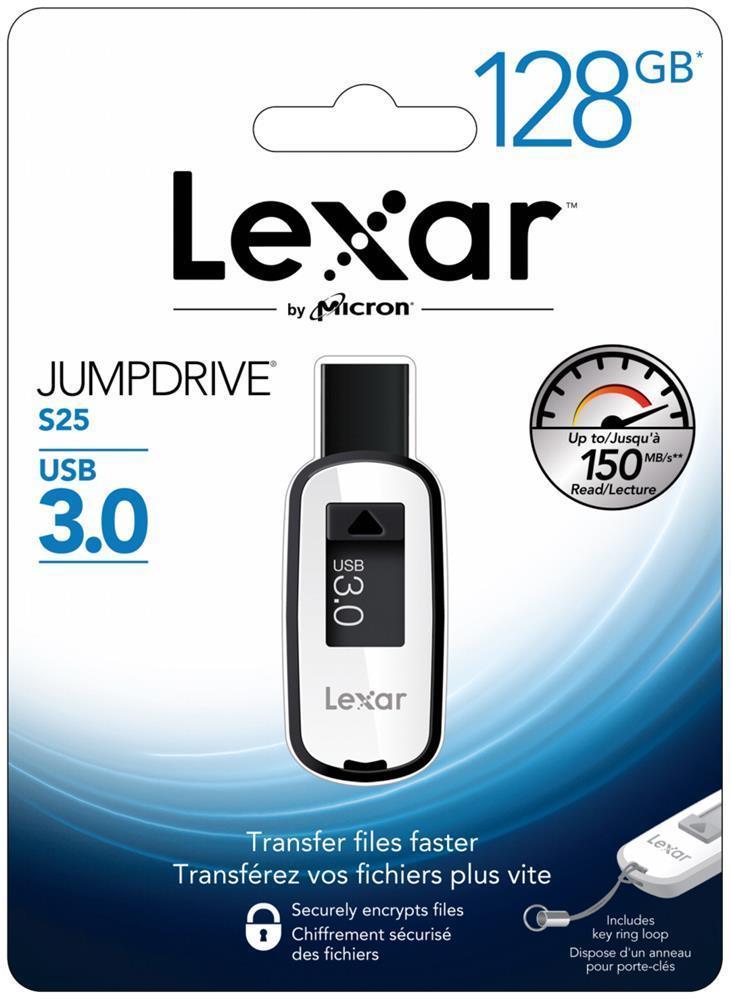 [ebay] Lexar 128GB JumpDrive S25 USB 3.0 Flash Drive Memory Stick Speicherstick - Schwarz für 24€ statt 30€