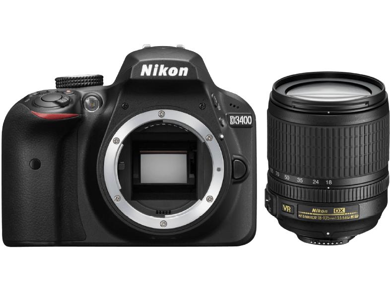 NIKON Spiegelreflexkamera D3400 mit Objektiv AF-S DX NIKKOR 18–105 mm VR, schwarz für 530€ [saturn.at]