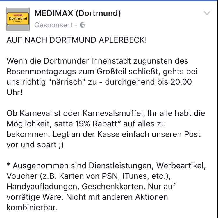 Medimax Dortmund Aplerbeck 19% auf alles!