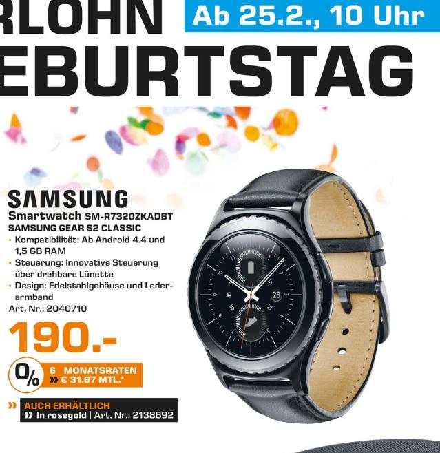 """(Lokal) SAMSUNG Gear S2 classic """"Schwarz und Rosegold"""" für 190€ @ Saturn Hagen & Iserlohn"""