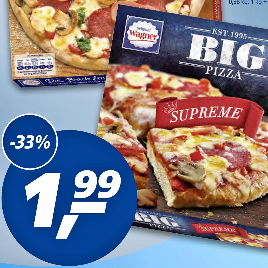 """Wagner """"Big Pizza Supreme"""" dank 1€ Rabatt bei Kauf von 2 Packungen nur noch 1,49€ bei (Real)"""