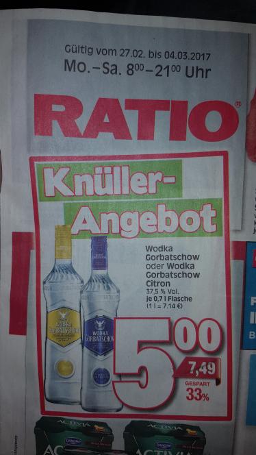 Lokal Ratio Baunatal: Wodka Gorbatschow 0.7L 5 Euro