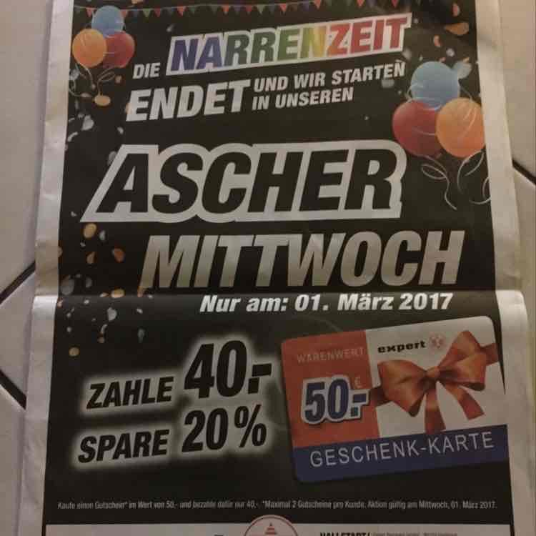 50€ Geschenkkarte für 40€ an Aschermittwochbei expert