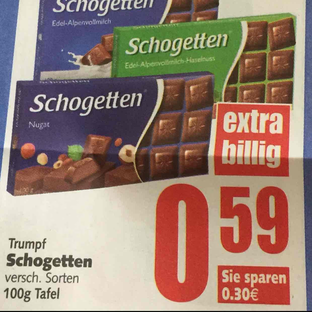 Schogetten Schokolade 100g für 0,59€ [EDEKA]
