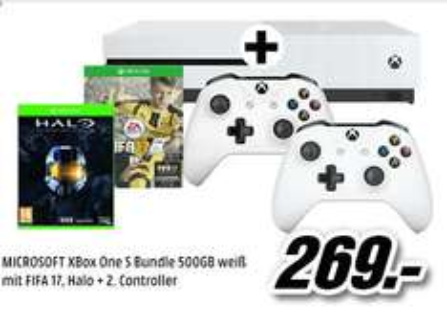 [Mediamarkt Österreich)MICROSOFT XBox One S Bundle 500GB weiß mit FIFA 17 (Download-Code)+ Halo: The Master Chief Collection (Datenträger) + 2.Controller für 269,-€?
