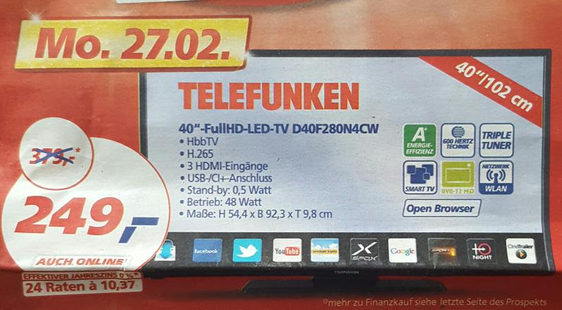 """Real 40"""" FullHD TV Telefunken D40F280N4CW"""