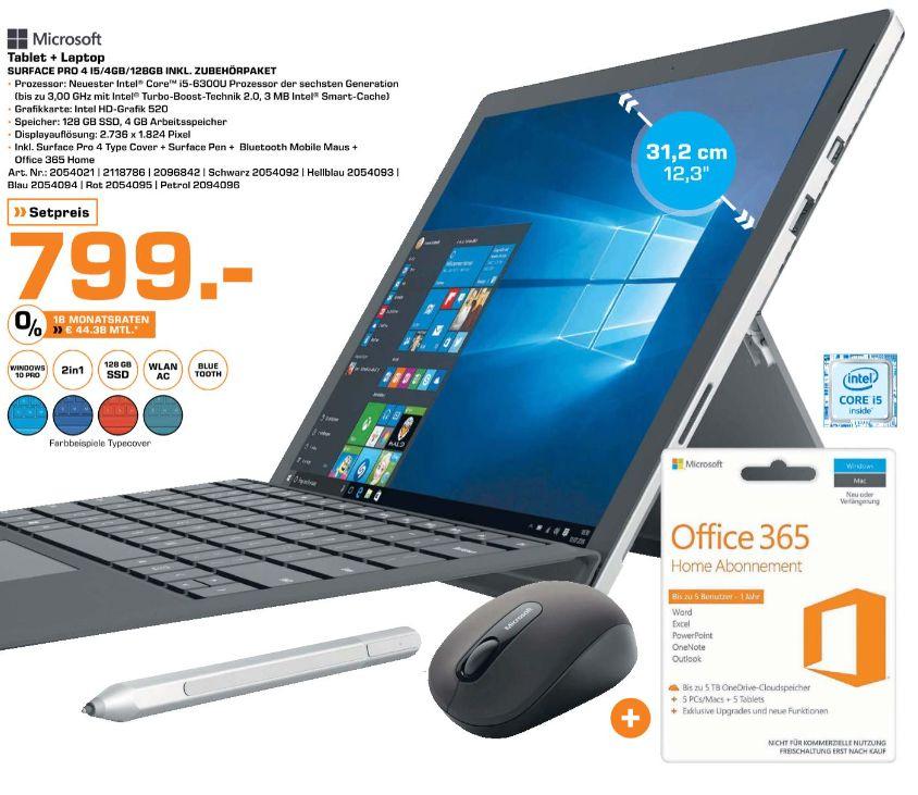 [Lokal Saturn Bremen] Microsoft Surface Pro 4,(12,3 Zoll), Intel Core i5, 4GB RAM, 128 GB, Intel HD Graphics, Windows 10 Pro + Pro Type Cover+ Surface Pen + Bluetooth Maus + 1 Jahr Office 365 in verschiedenen Farben für je 799,-€