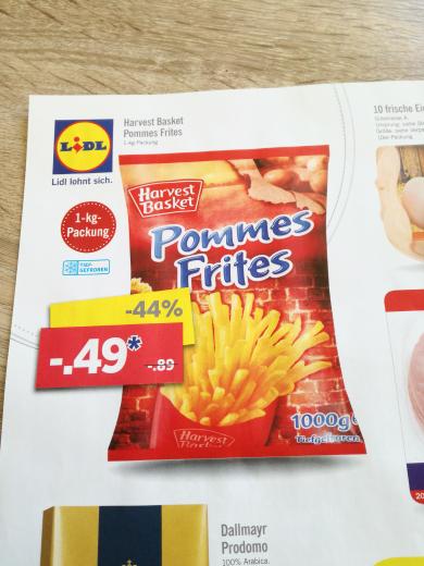 Pommes Frites 1kg (lokal LIDL Kastellaun)
