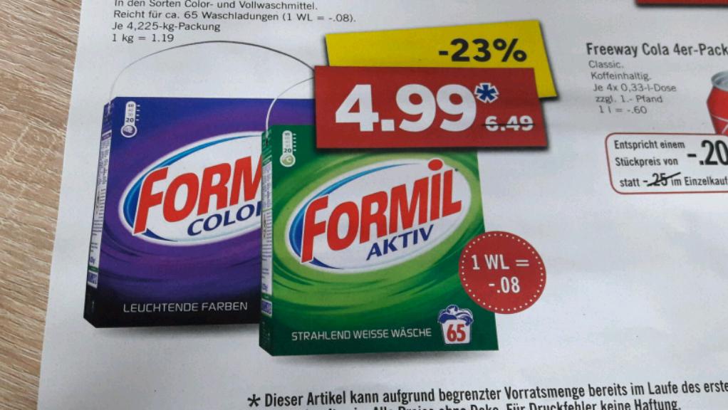 Formil Waschmittel 65wl für 4.99€ bei lidl lokal (27.2-4.03.17)