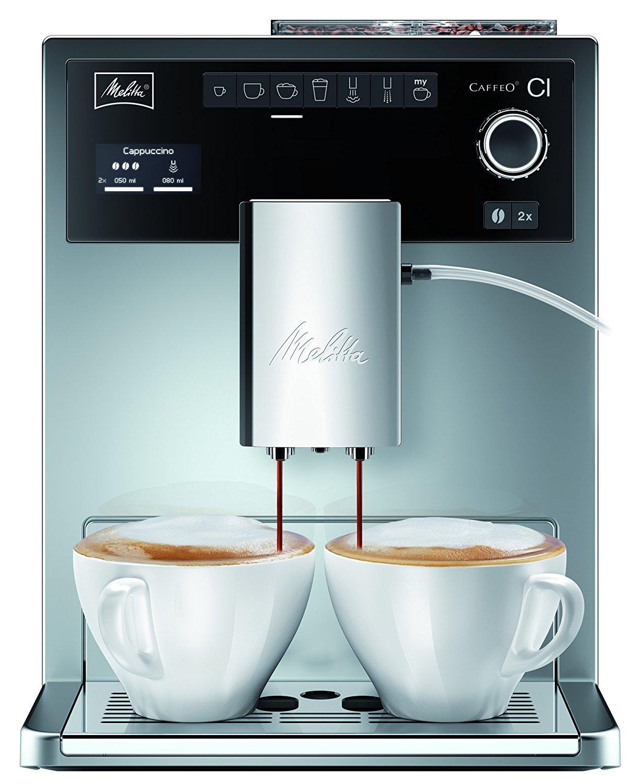 Amazon - Melitta E 970-306 Kaffeevollautomat Caffeo CI One-touch Cappuccino (LCD-Display, 2 x 135 g Bean Select, 15 bar, Cappuccinatore) hochglanz silber