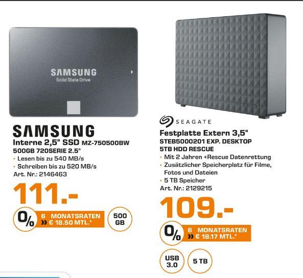 [Lokal Saturn Essen/Mülheim/Oberhausen] Seagate Expansion Desktop 5 TB externe Festplatte USB 3.0 (Rescue Edition) für 109,-€***SAMSUNG 750 EVO, 500 GB, 2.5 Zoll, SSD für 111,-€