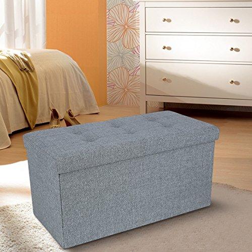 Songmics 76 x 38 x 38 cm Faltbarer Sitzhocker belastbar bis 300 kg [Fußbank Sitzbank Aufbewahrungsbox]  (lichtgrau oder dunkelgrau) für 25,49€ @Amazon.de Prime