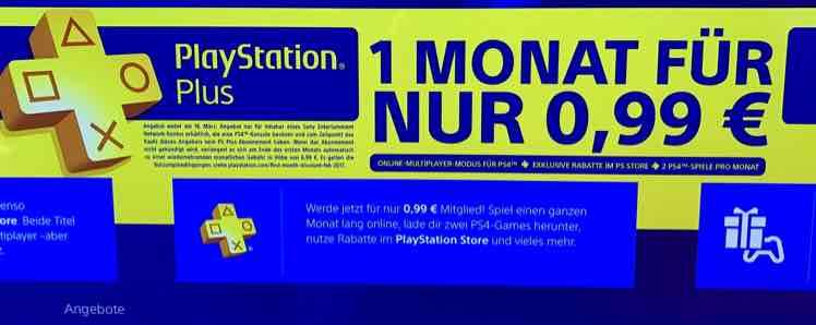 Ein Monat PlayStation Plus für 0,99€ (nur ohne aktives Abo) VGP: 6,99€ für 1 Monat