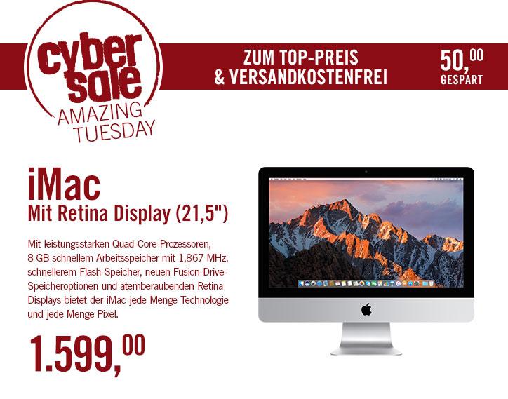 "Apple iMac Retina 4K 21.5"", Core i5-5675R, 8GB RAM, 1TB Fusion Drive [Late 2015]  bei Cyberport für 1599 €"