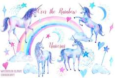 [Creativemarket] Watercolor Clipart Unicorns (6 Freebies)