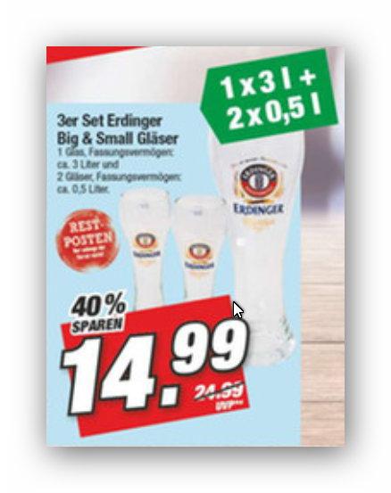 [Marktkauf Nordbayern] 3er-Set Erdinger-Gläser (1 x 3 Liter- und 2 x 0,5 Liter-Weizenbierglas)