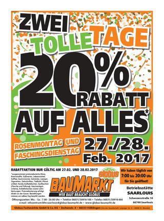 [LOKAL] 20% auf ALLES* im Globus Baumarkt Saarlouis, Merzig, Völklingen und St. Wendel (evt. auch weitere; u.a. auch Homematic IP)