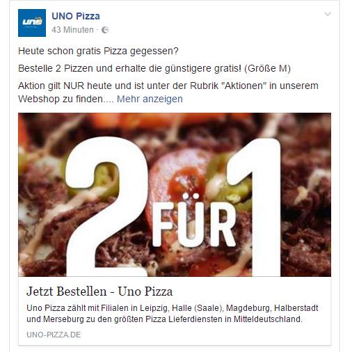 [lokal: Leipzig, Halle, Magdeburg] UNO Pizza 2für1 - günstigere Pizza gratis