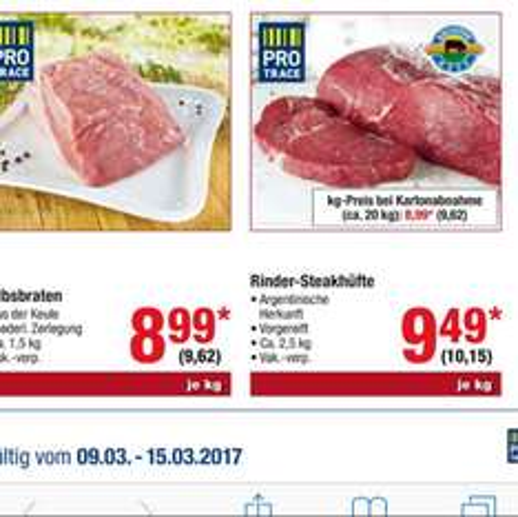 Metro Argentinische Rinder Steakhüfte 10,15€ Brutto