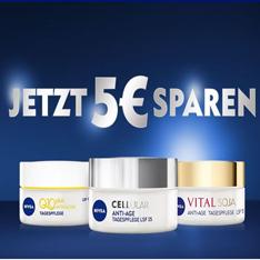 5€ Cashback auf Nivea Cellular, Q10plus Anti-Falten & Vital Cremes