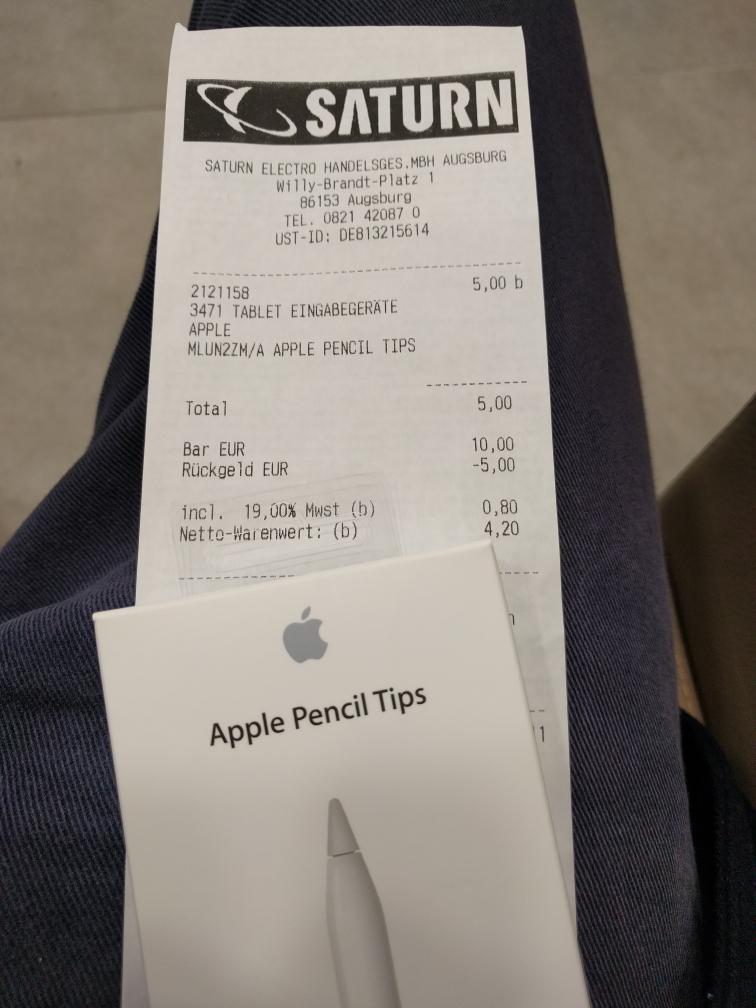 [Lokal Augsburg, Saturn] Apple Pencil Tips (4stk) für 5€ statt 25€