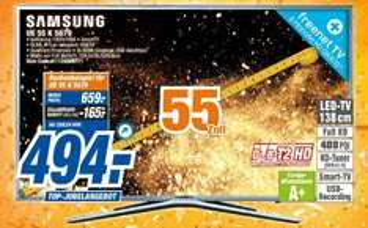 [Expert-Techikmarkt-Alle 20 Märkte] Samsung UE-55K5679 138cm Full HD LED Fernseher Smart TV WLAN 400 Hz PQI für 494,-€