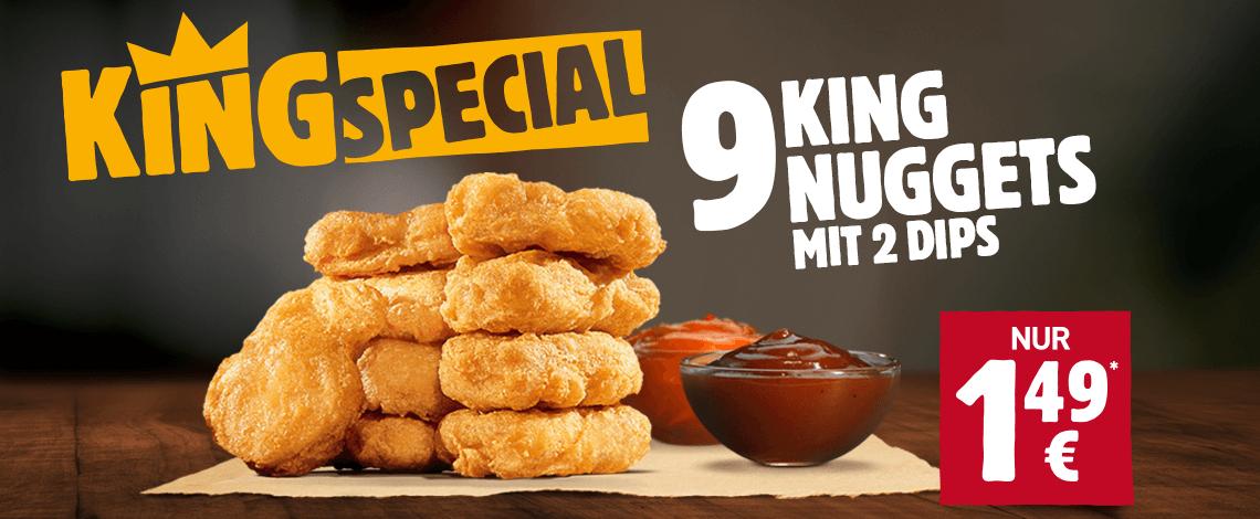 Nur noch bis morgen 9 King Nuggets mit 2 Dips für 1,49€ [Burger King] *UPDATE*