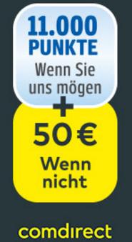 comdirect Girokonto mit 11.000 Payback-Punkten (110€) + 20€ Cashback bei kostenloser Kontoführung