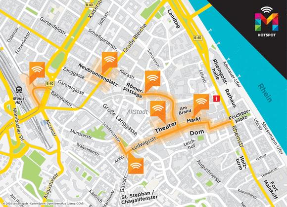 Mainz: Ab Sofort kostenlos an vielen Orten surfen